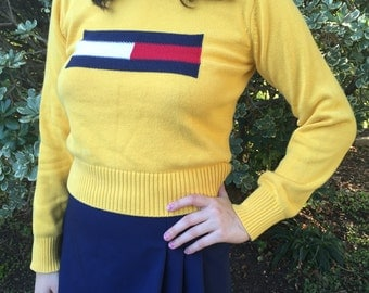 SALE 90s Style Tommy Hilfiger Knitted Cropped Sweater Size S/M