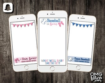 Baseball or Bows Gender Reveal - Custom Snapchat Filter - Choose from a Single Geofilter or a Pack of 3!