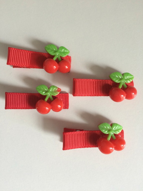 Red Cherry Hair Slides - Set of Four