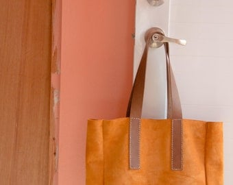 Authentic brown suede leather large tote handstitched handmade