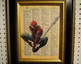 Spiderman Art Print on Vintage Dictionary Page