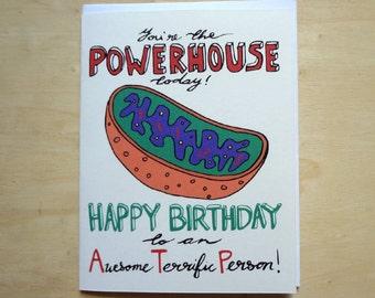 Mitochondrion Powerhouse Birthday - Handmade Cell Biology card
