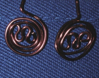KCE-6159 - Red Wire Spiral Earrings