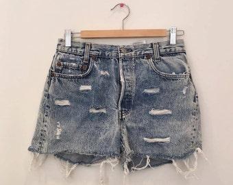 Vintage Levi's Acid Wash Denim Shorts - 90s - Size 27 - high waisted
