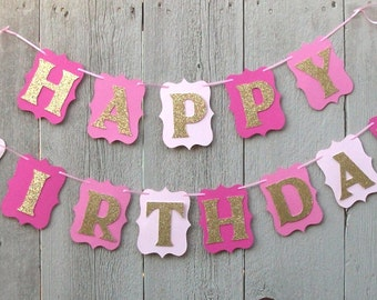 Happy Birthday banner, Birthday banner, Pink and Gold banner, Personalized name banner, Pink and Gold Birthday banner, Pink and Gold decor