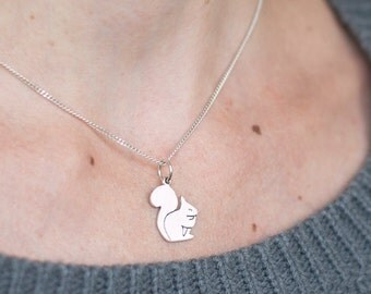 Silver Squirrel Necklace - Sterling Silver Squirrel Pendant