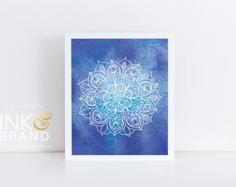 Watercolor Mandala Art - Digital Print Bundle - Decor, Wall, Frame, PDF, Bohemian, Boho