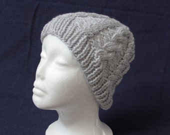 Gray cabled beanie