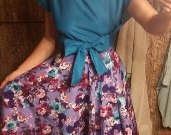 purple flower circle skirt