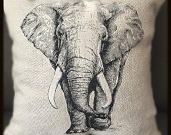 Embroidered Elephant & Safari ~ Decorative pillow