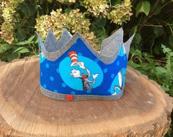 Cat In The Hat Dr. Seuss Fabric Crown Adjustable