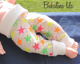 Baby pants Mitwachsen pants 0-6 months stars neon