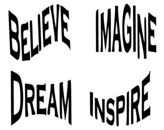 4 Vinyl Inspirational words: decals,stickers