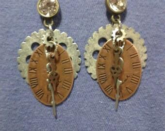 Steampunk clock & gear earrings