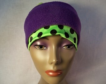 Fleece cap and head band, chemo cap, cancer cap, alopecia