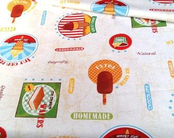 Fabric coating Ice Cream - size to 1 quantity 50 cm x 160 cm - 100% cotton coating