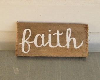 Faith Hand-Painted Wood Sign