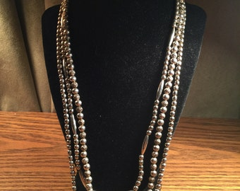 Vintage three strand sterling silver beaded necklace
