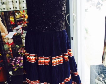 vintage skirt-vintage gipsy skirt-vintage indian skirt-vintge blue skirt-pailletes skirt