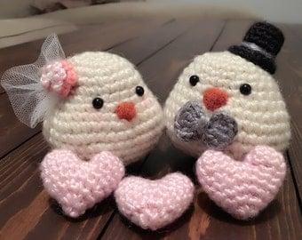 Crochet Lovebirds Wedding Cake Topper, Birds Bride and Groom Rustic Wedding, Barn Wedding