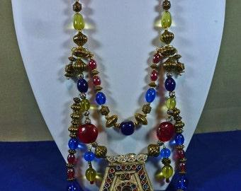 Vintage Tibetan Breastplate Necklace Murano Glass Beads, Ethnic Treasure