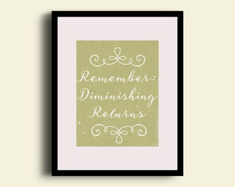 Point of diminishing returns. Economics. Rules to live by. Digital print. Home decor. Office decor. Nerdy print. Motivation. Inspiration.