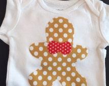Gingerbread Man Onesie, Christmas Onesie, Holiday Onesie, Xmas Onesie, Christmas Baby, Holiday Baby-Light Brown Gingerbread