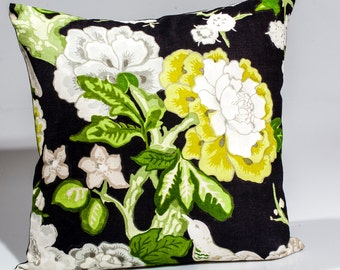 Designer pillow, decorative pillow, Schumacher Fabric ~  'Bermuda Blossoms' black floral