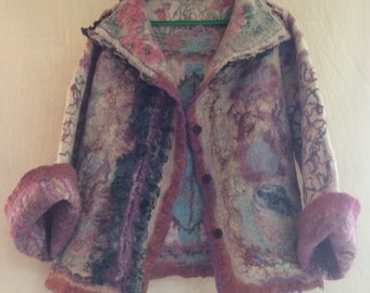 Felted Wool jacket Wool jacket  Nunofelted women's reversible jacket  Women's clothing Jackets and Coats Felted clothing Wool jacket Felted