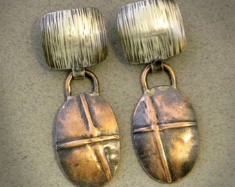 Crossroads - Copper & Silver earrings