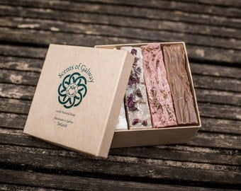 100% Natural Soap, Handmade in Galway, Ireland,  Four-soap Gift Box (4x80g)