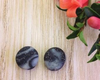 Black galaxy stud earrings - stainless steel, hypoallergenic