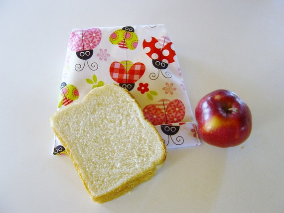 Lunch bags eco friendly, Reusable bag, snack bag, sandwich bag, ladybugs