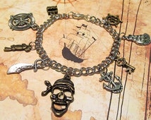 "PIRATE Charm Bracelet with NINE Charms (7.25"" chain) - Custom Orders Welcome"