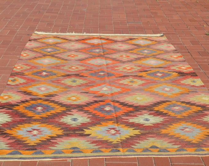 pastel kilim rug, kilim ottoman, turkish kilim, bohemian rug, boho furniture, floor rug, kelim teppich, turkish kilim rug, livingroom decor