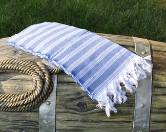 Blue Turkish Towel Peshtemal Towel Beach Towel
