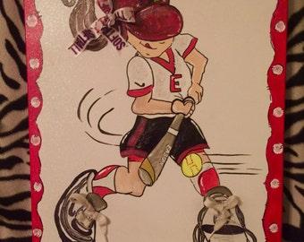 Girls Softball Player Canvas