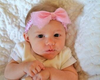 Pink Bow Headband, Girl Headband, Baby Headband