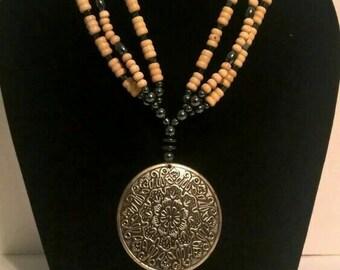 Triple-Strand Wooden Necklace w/Burnished Medallion