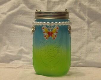 Green Fade To blue Butterfly Jar