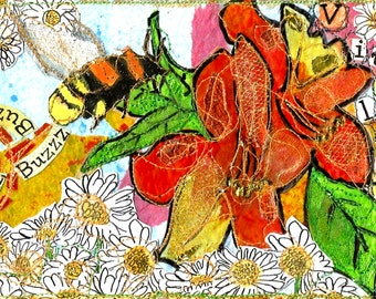 A4 Mixed Media Illustration Art Print 'Vitality' Colourful Bumble Bee/Floral Design with Stitch and Collage