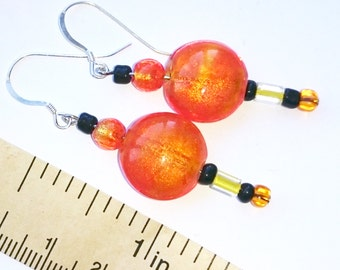 Orange Yellow and Black Glass Bead Earrings with Sterling Silver Hooks American Indian Inspired Symbolic October Halloween Colored Pierced