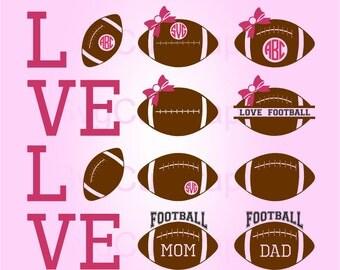 Football SVG Monogram Ball, Svg Files, Love Football Svg, Svg files for Cricut, Svg Cut file for Silhouette, SVG Vinyl Cutters, Football Mom