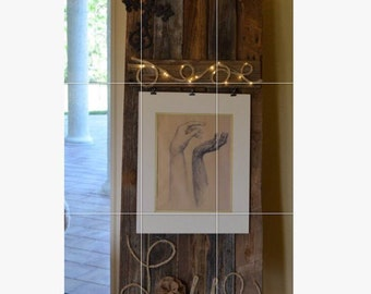 Antique barn wood freestanding decor for a picture