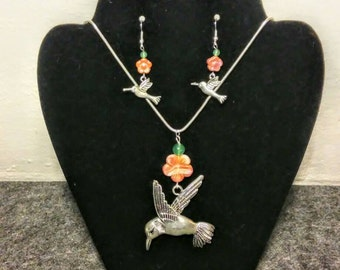 Hummingbird Necklace and Earrings set