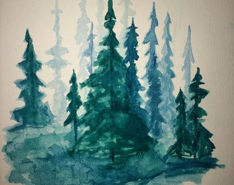 Pine Tree Forest / Watercolor Trees / Tree Art / Tree Painting / Landscape Painting