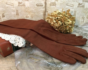 Vintage Ladies Gossard Gloves/Brown Fabric/New/Original Package