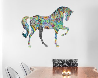 Beautiful LIGHT BLUE Abstract Horse Wall Decal Sticker Mural, Statement  Decor Item, Ideal For Part 25