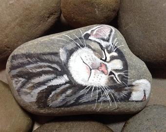 Sleeping Kitten Handpainted beach stone art