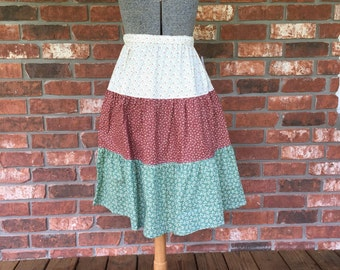 Multi colored prairie 3 tiered modest skirt size medium